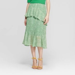 Who What Wear tiered ruffle midi skirt